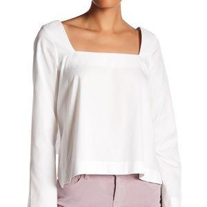 Rebecca Minkoff white cotton tie back blouse EUC S